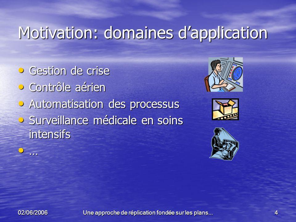 02/06/2006Une approche de réplication fondée sur les plans...4 Motivation: domaines dapplication Gestion de crise Gestion de crise Contrôle aérien Con