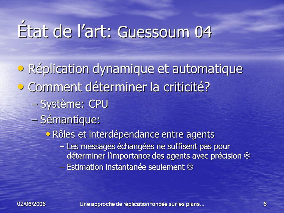 02/06/2006Une approche de réplication fondée sur les plans...6 État de lart: Guessoum 04 Réplication dynamique et automatique Réplication dynamique et