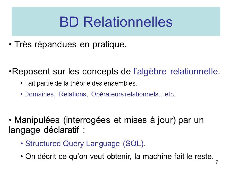 7 BD Relationnelles Très répandues en pratique.