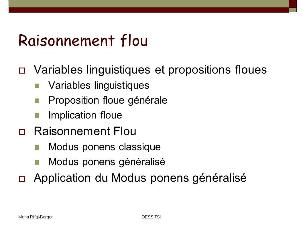 Maria Rifqi-BergerDESS TSI Raisonnement flou Variables linguistiques et propositions floues Variables linguistiques Proposition floue générale Implica