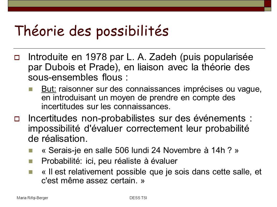 Maria Rifqi-BergerDESS TSI Théorie des possibilités Introduite en 1978 par L. A. Zadeh (puis popularisée par Dubois et Prade), en liaison avec la théo