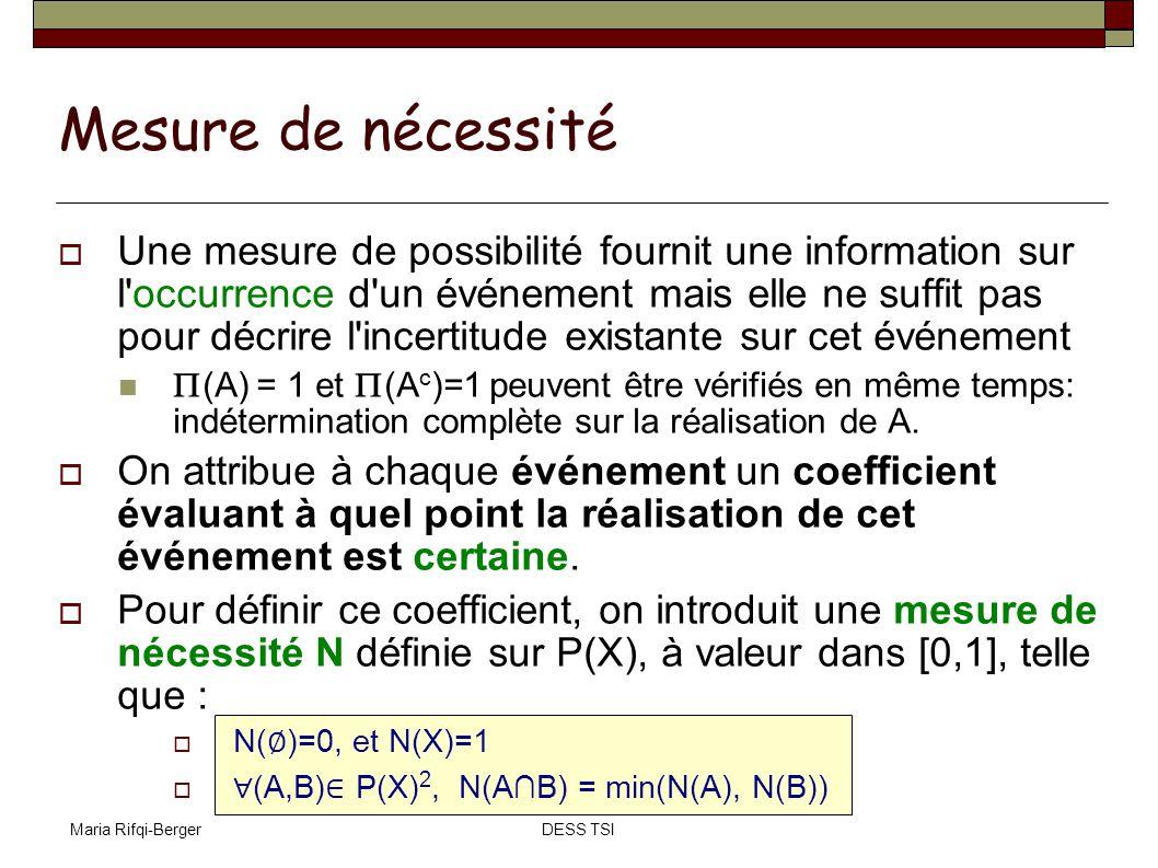 Maria Rifqi-BergerDESS TSI Mesure de nécessité Une mesure de possibilité fournit une information sur l'occurrence d'un événement mais elle ne suffit p