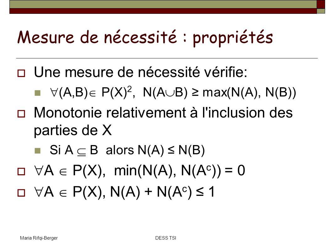 Maria Rifqi-BergerDESS TSI Mesure de nécessité : propriétés Une mesure de nécessité vérifie: (A,B) P(X) 2, N(A B) max(N(A), N(B)) Monotonie relativeme