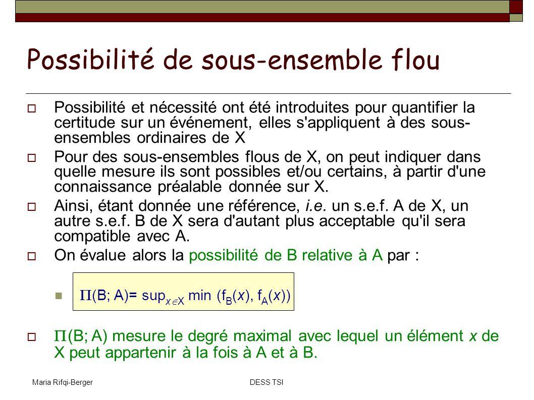 Maria Rifqi-BergerDESS TSI Possibilité et nécessité ont été introduites pour quantifier la certitude sur un événement, elles s'appliquent à des sous-