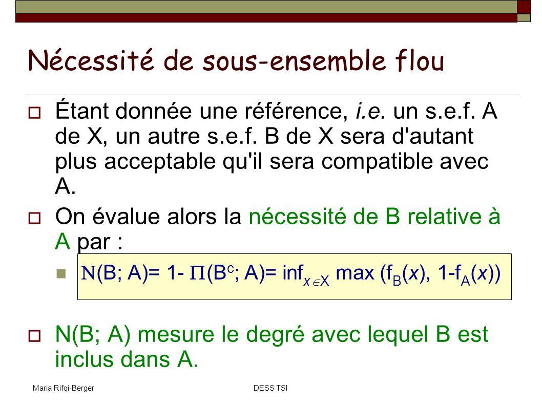 Maria Rifqi-BergerDESS TSI Nécessité de sous-ensemble flou Étant donnée une référence, i.e. un s.e.f. A de X, un autre s.e.f. B de X sera d'autant plu