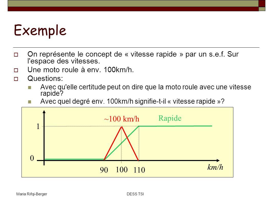 Maria Rifqi-BergerDESS TSI Exemple On représente le concept de « vitesse rapide » par un s.e.f. Sur l'espace des vitesses. Une moto roule à env. 100km