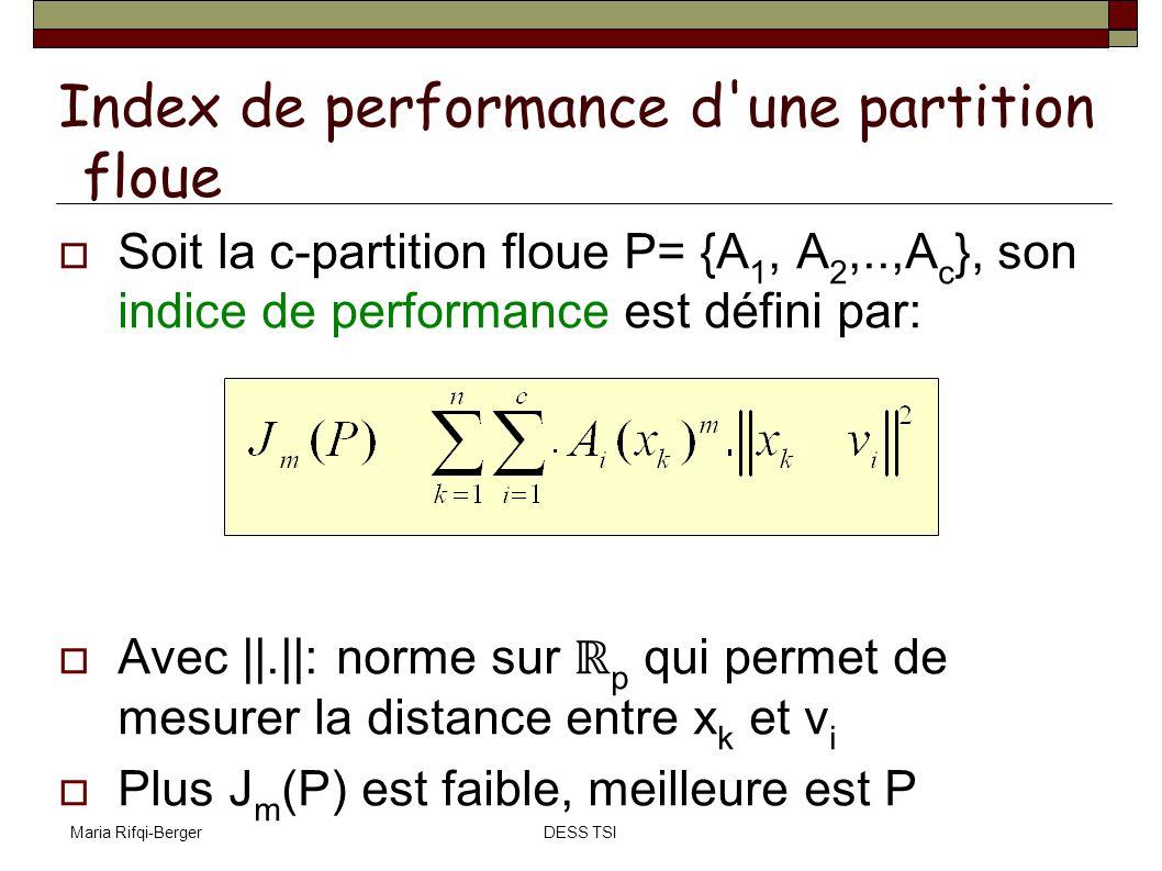 Maria Rifqi-BergerDESS TSI Soit la c-partition floue P= {A 1, A 2,..,A c }, son indice de performance est défini par: Avec ||.||: norme sur p qui perm
