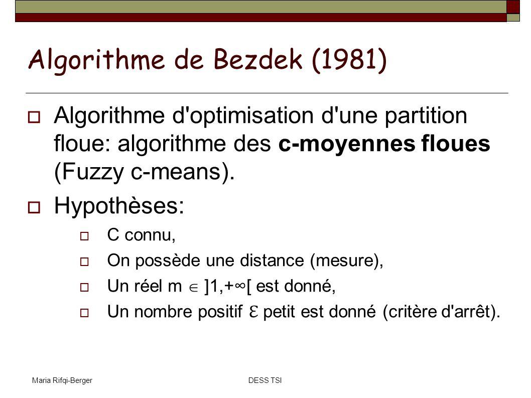 Maria Rifqi-BergerDESS TSI Algorithme de Bezdek (1981) Algorithme d'optimisation d'une partition floue: algorithme des c-moyennes floues (Fuzzy c-mean