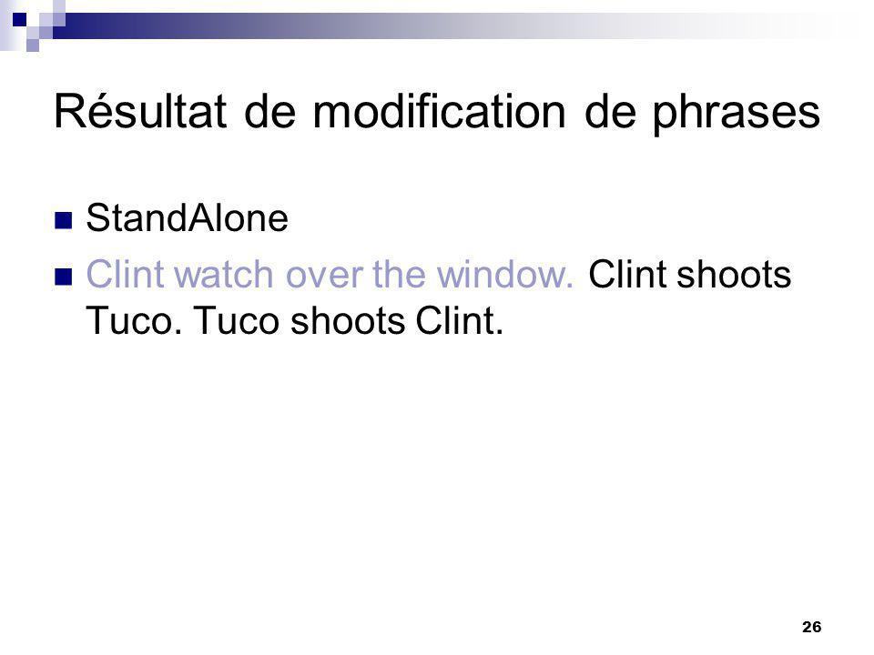26 Résultat de modification de phrases StandAlone Clint watch over the window. Clint shoots Tuco. Tuco shoots Clint.
