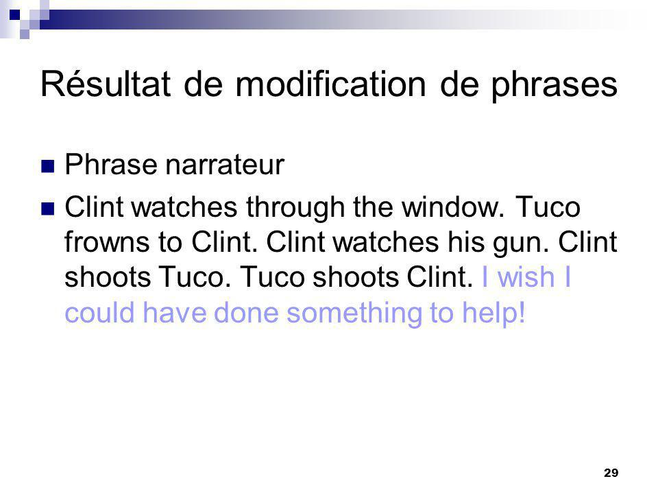 29 Résultat de modification de phrases Phrase narrateur Clint watches through the window. Tuco frowns to Clint. Clint watches his gun. Clint shoots Tu
