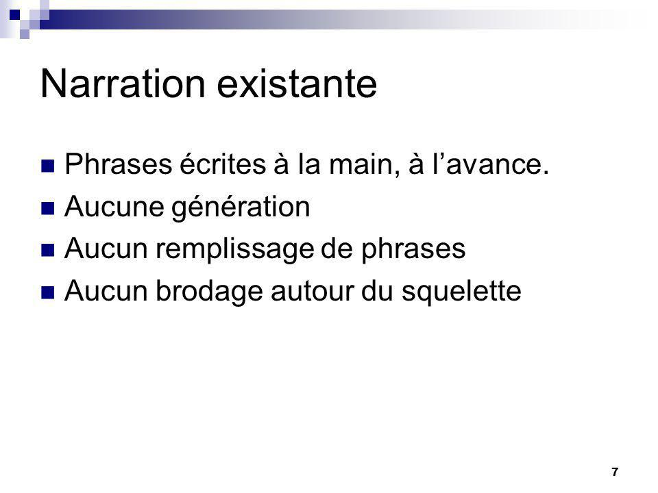 7 Narration existante Phrases écrites à la main, à lavance.