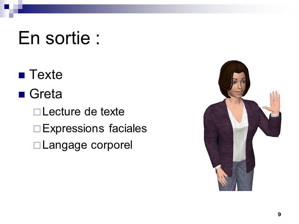 9 En sortie : Texte Greta Lecture de texte Expressions faciales Langage corporel