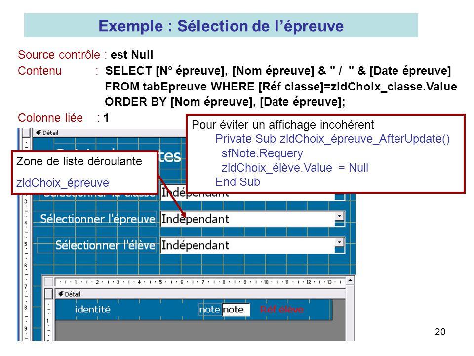 20 Exemple : Sélection de lépreuve Source contrôle : est Null Contenu : SELECT [N° épreuve], [Nom épreuve] &
