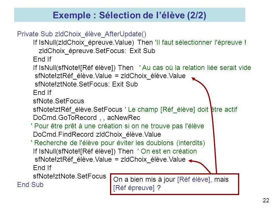 22 Private Sub zldChoix_élève_AfterUpdate() If IsNull(zldChoix_épreuve.Value) Then 'Il faut sélectionner l'épreuve ! zldChoix_épreuve.SetFocus: Exit S