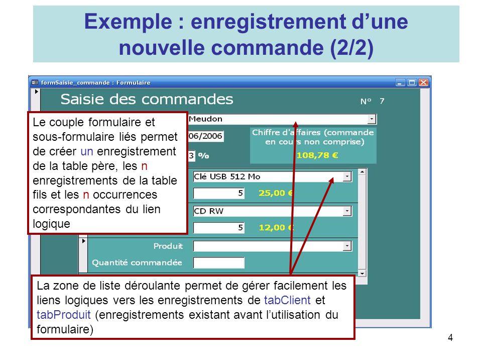 4 Le couple formulaire et sous-formulaire liés permet de créer un enregistrement de la table père, les n enregistrements de la table fils et les n occ
