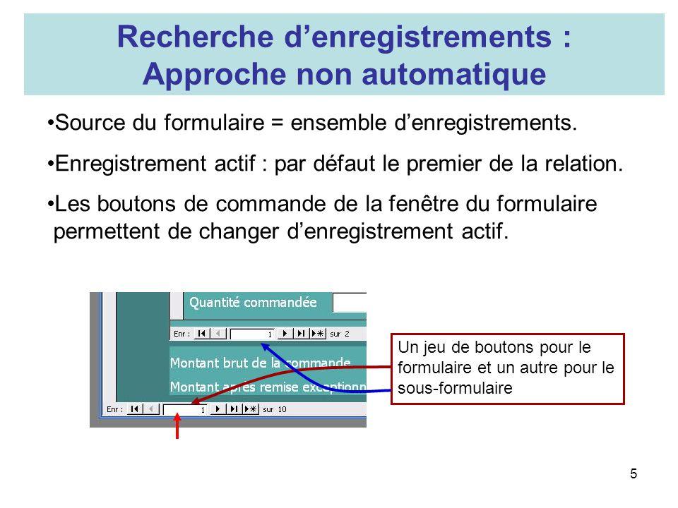 5 Recherche denregistrements : Approche non automatique Source du formulaire = ensemble denregistrements. Enregistrement actif : par défaut le premier