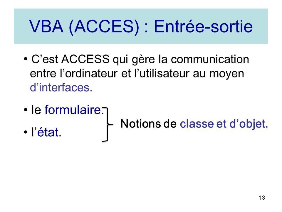 13 VBA (ACCES) : Entrée-sortie Cest ACCESS qui gère la communication entre lordinateur et lutilisateur au moyen dinterfaces.