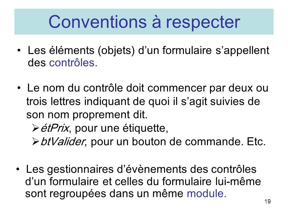 19 Conventions à respecter Les éléments (objets) dun formulaire sappellent des contrôles.