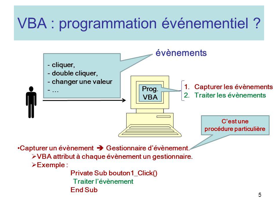 5 VBA : programmation événementiel .Prog.