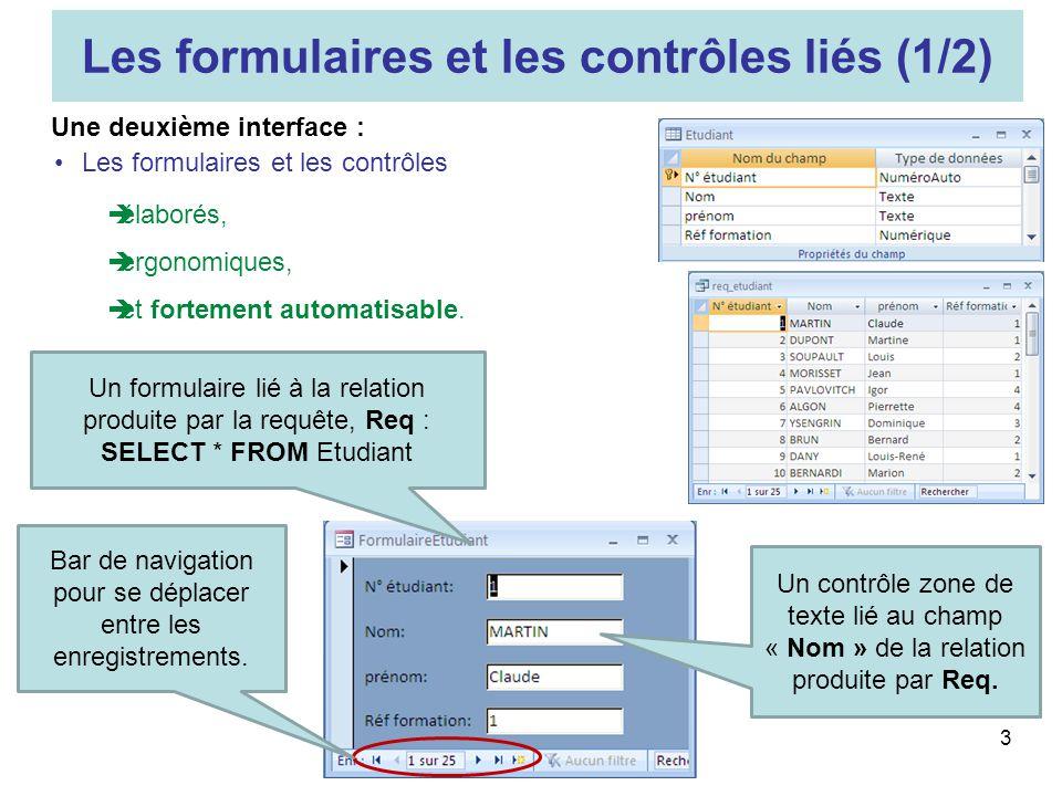 3 Les formulaires et les contrôles liés (1/2) Les formulaires et les contrôles élaborés, ergonomiques, et fortement automatisable. Une deuxième interf