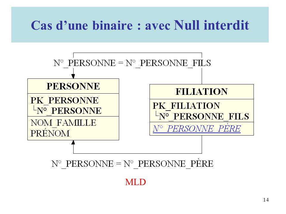 MLD Cas dune binaire : avec Null interdit 14