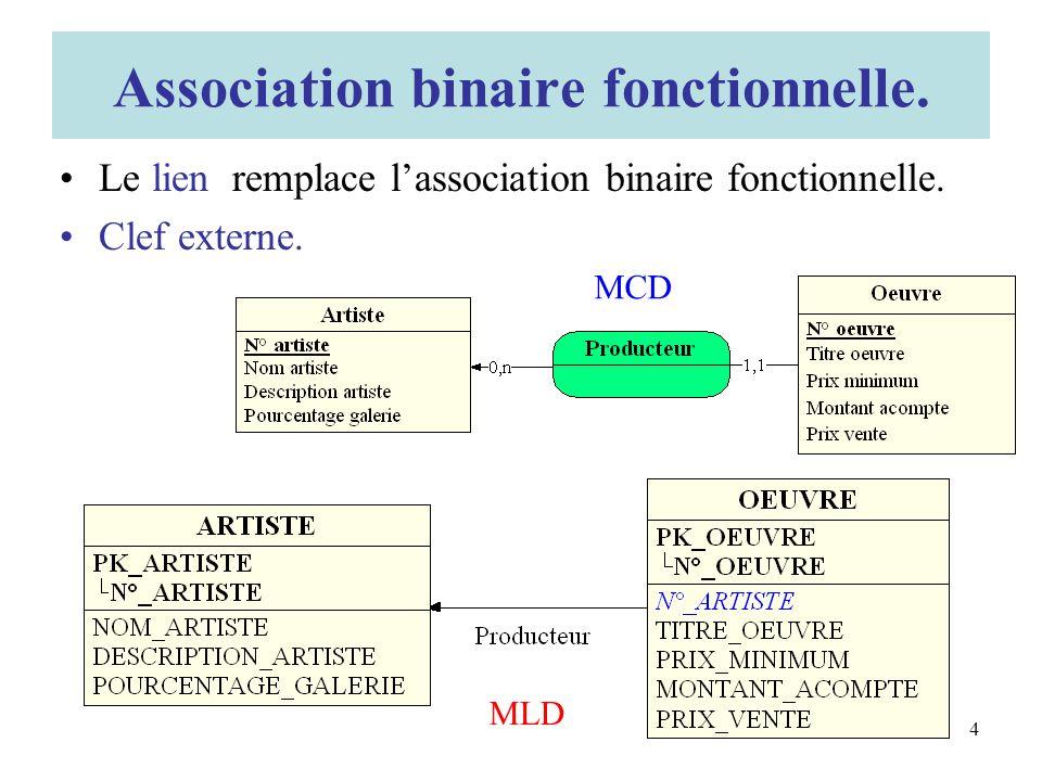 Le lien remplace lassociation binaire fonctionnelle.