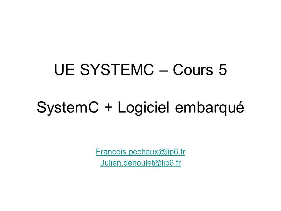 UE SYSTEMC – Cours 5 SystemC + Logiciel embarqué Francois.pecheux@lip6.fr Julien.denoulet@lip6.fr