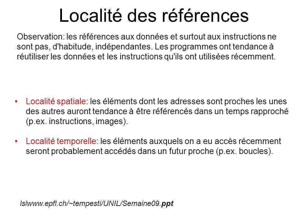 Localité des références Observation: les références aux données et surtout aux instructions ne sont pas, d'habitude, indépendantes. Les programmes ont