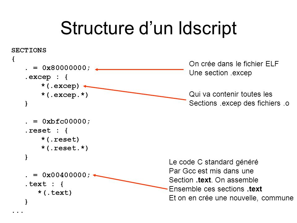 Structure dun ldscript SECTIONS {. = 0x80000000;.excep : { *(.excep) *(.excep.*) }. = 0xbfc00000;.reset : { *(.reset) *(.reset.*) }. = 0x00400000;.tex