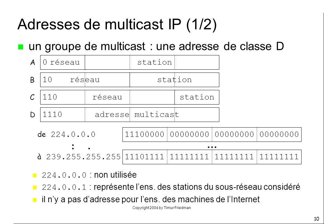Copyright 2004 by Timur Friedman 10 Adresses de multicast IP (1/2) n un groupe de multicast : une adresse de classe D 0 10 110 1110 réseau station adr