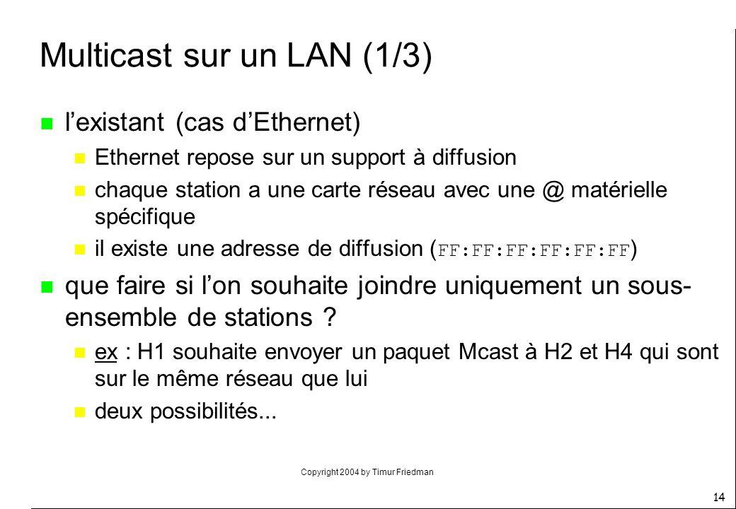 Copyright 2004 by Timur Friedman 14 Multicast sur un LAN (1/3) n lexistant (cas dEthernet) n Ethernet repose sur un support à diffusion n chaque stati
