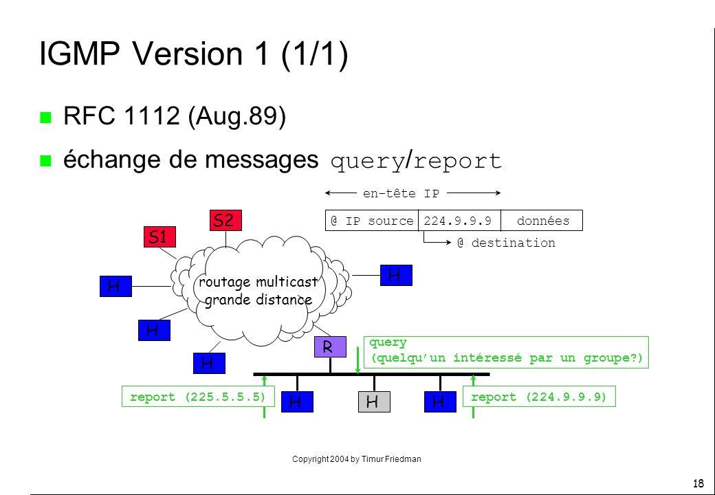 Copyright 2004 by Timur Friedman 18 IGMP Version 1 (1/1) n RFC 1112 (Aug.89) échange de messages query / report R S1 HH routage multicast grande dista