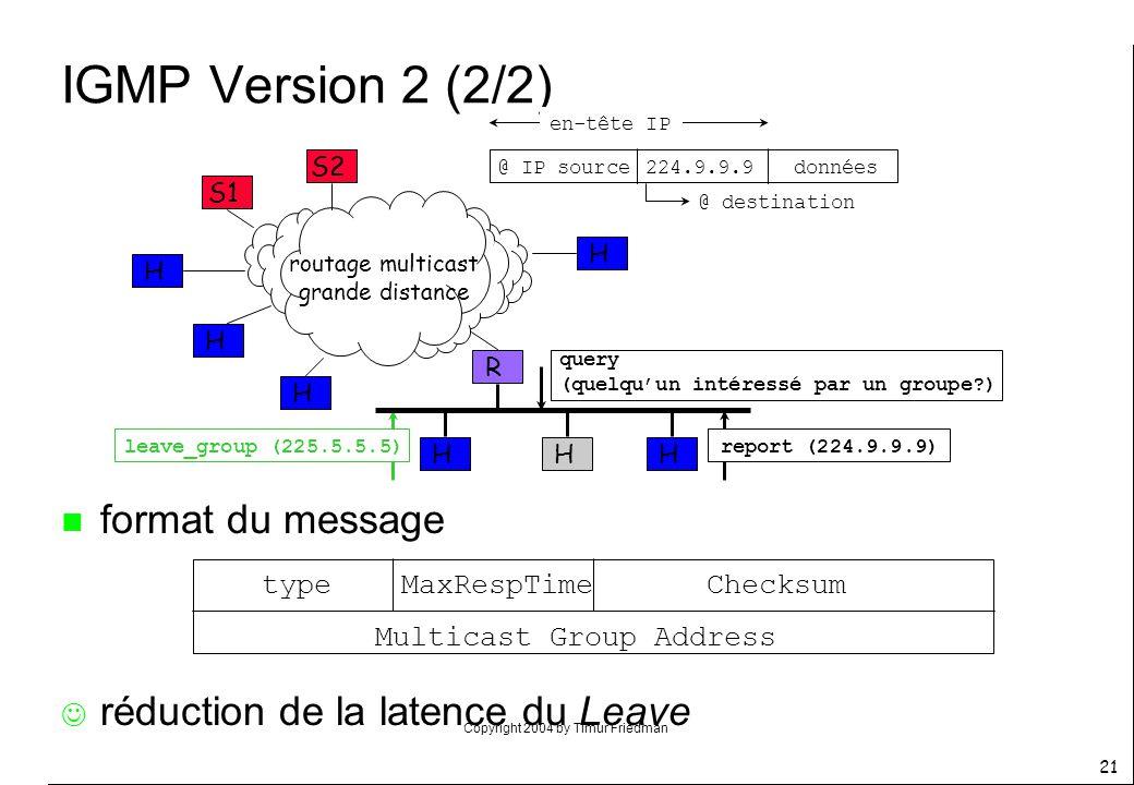 Copyright 2004 by Timur Friedman 21 IGMP Version 2 (2/2) R S1 HH routage multicast grande distance S2 H H H H H query (quelquun intéressé par un group
