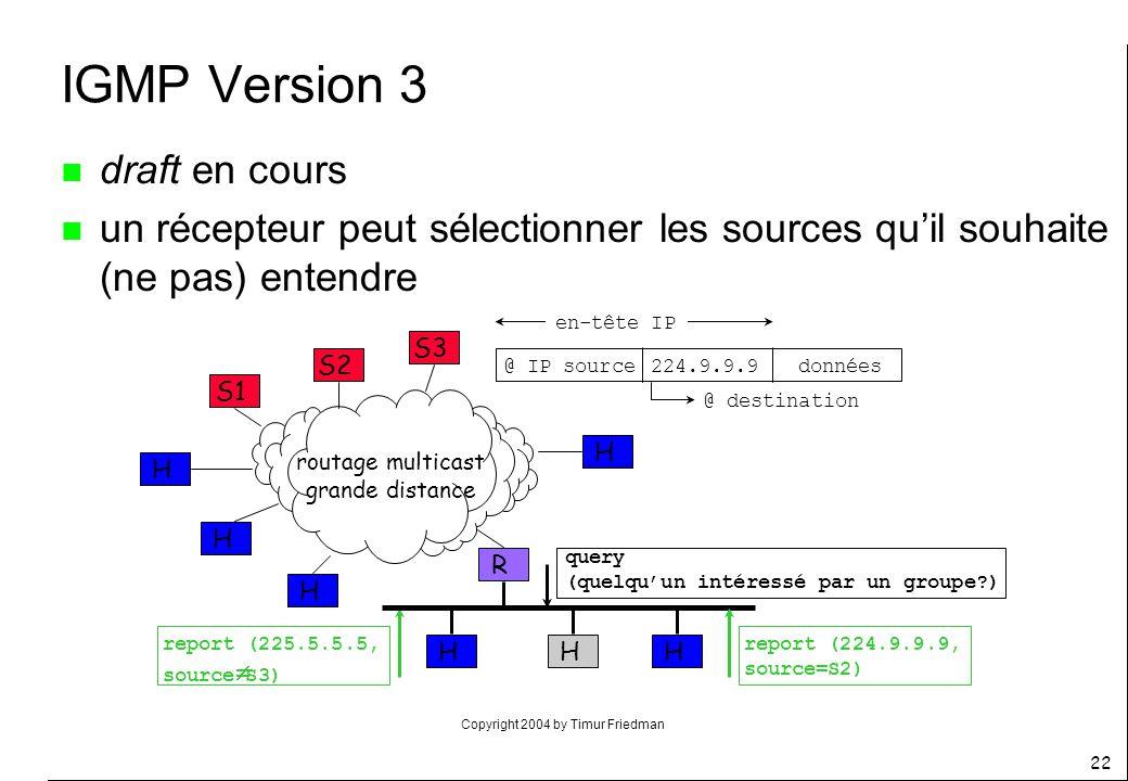 Copyright 2004 by Timur Friedman 22 IGMP Version 3 n draft en cours n un récepteur peut sélectionner les sources quil souhaite (ne pas) entendre R S1