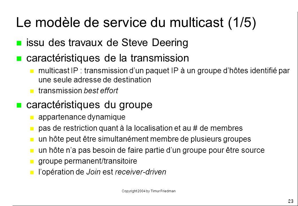 Copyright 2004 by Timur Friedman 23 Le modèle de service du multicast (1/5) n issu des travaux de Steve Deering n caractéristiques de la transmission