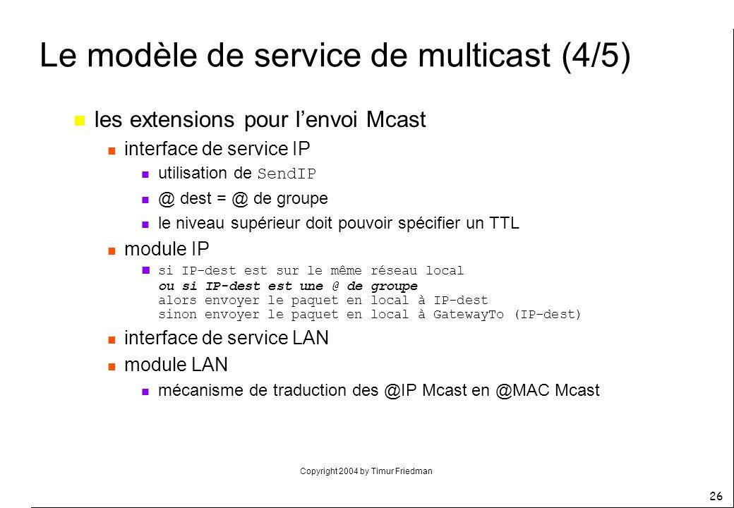 Copyright 2004 by Timur Friedman 26 Le modèle de service de multicast (4/5) n les extensions pour lenvoi Mcast n interface de service IP utilisation d