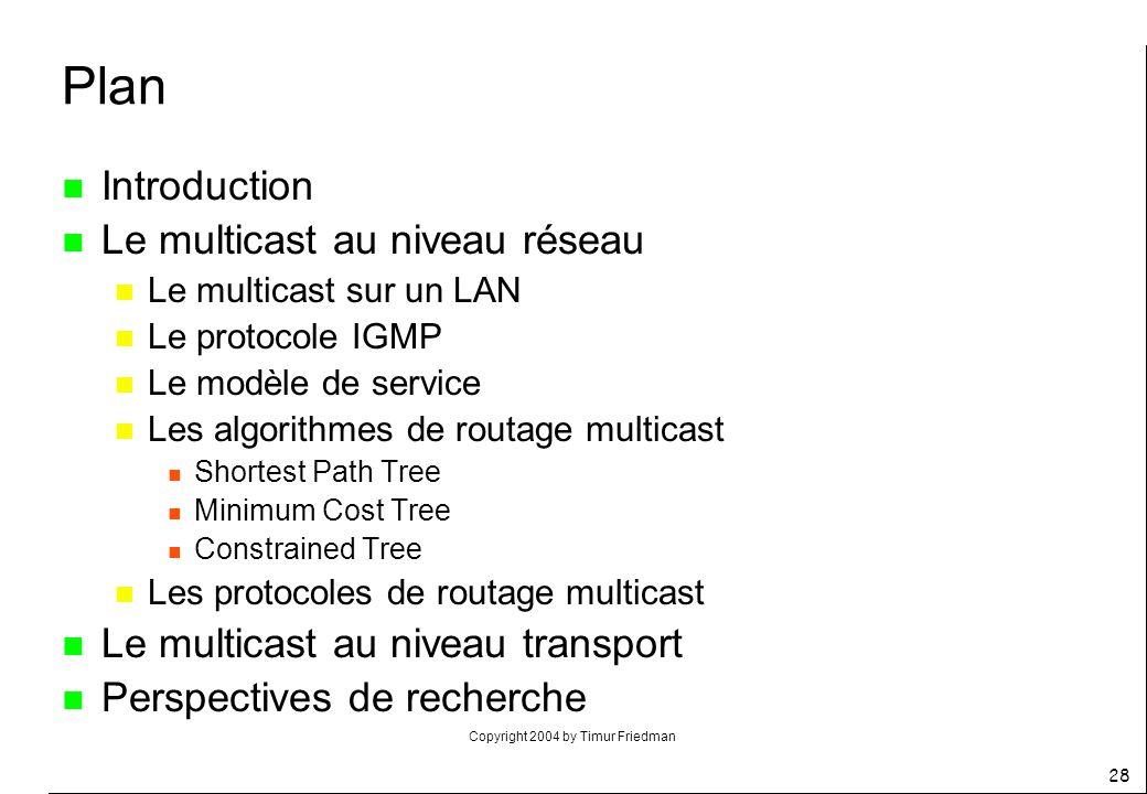 Copyright 2004 by Timur Friedman 28 n Introduction n Le multicast au niveau réseau n Le multicast sur un LAN n Le protocole IGMP n Le modèle de servic