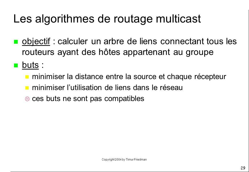 Copyright 2004 by Timur Friedman 29 Les algorithmes de routage multicast n objectif : calculer un arbre de liens connectant tous les routeurs ayant de