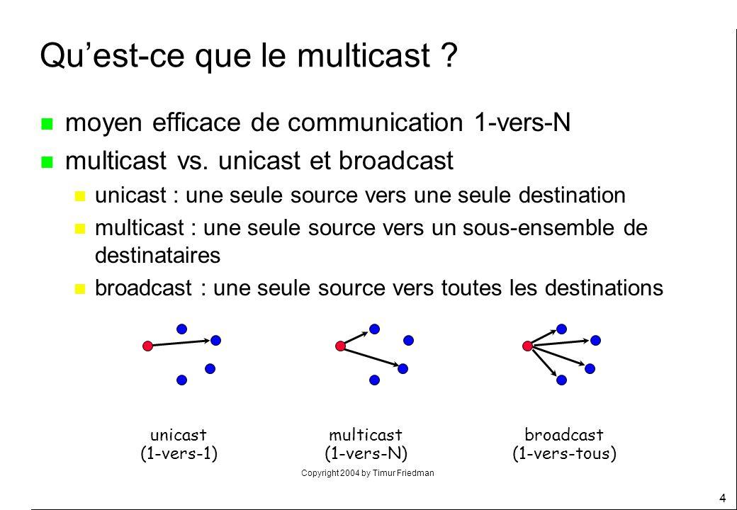 Copyright 2004 by Timur Friedman 25 Le modèle de service de multicast (3/5) n le RFC 1112 spécifie les extensions à apporter à un hôte IP pour supporter le Mcast n 3 niveaux de conformité n 0 : lhôte ne supporte pas le Mcast n 1 : lhôte peut émettre à destination dun groupe n 2 : lhôte supporte le Mcast en émission et réception n modèle dimplémentation IP dun hôte module IP module LAN (Ethernet) traduction d@ (ARP) interface de service LAN ICMP interface de service IP IGMP modules de protocoles de niveau sup.