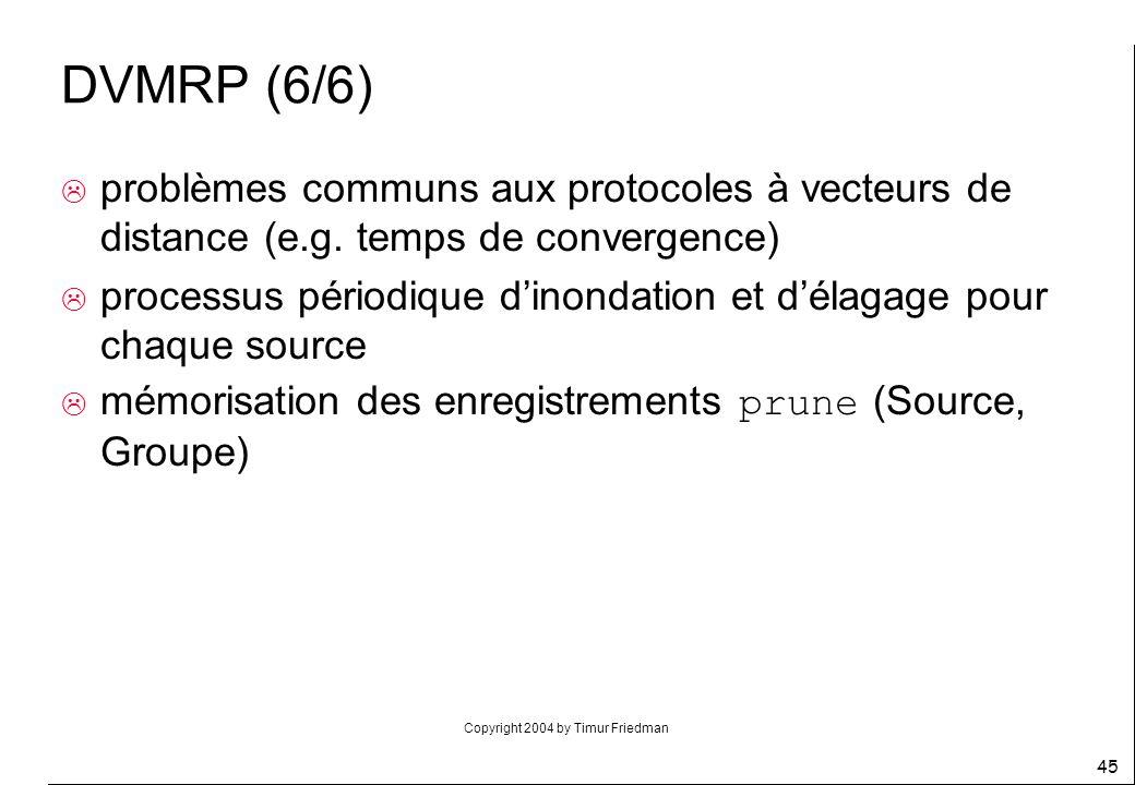 Copyright 2004 by Timur Friedman 45 DVMRP (6/6) problèmes communs aux protocoles à vecteurs de distance (e.g. temps de convergence) processus périodiq