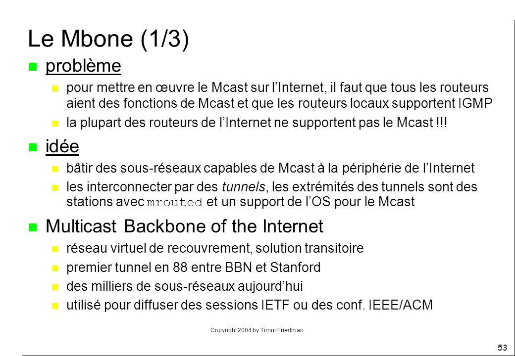 Copyright 2004 by Timur Friedman 53 Le Mbone (1/3) n problème n pour mettre en œuvre le Mcast sur lInternet, il faut que tous les routeurs aient des f
