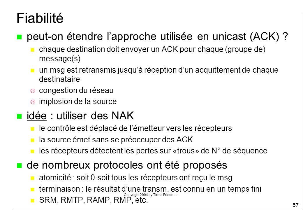 Copyright 2004 by Timur Friedman 57 Fiabilité n peut-on étendre lapproche utilisée en unicast (ACK) ? n chaque destination doit envoyer un ACK pour ch