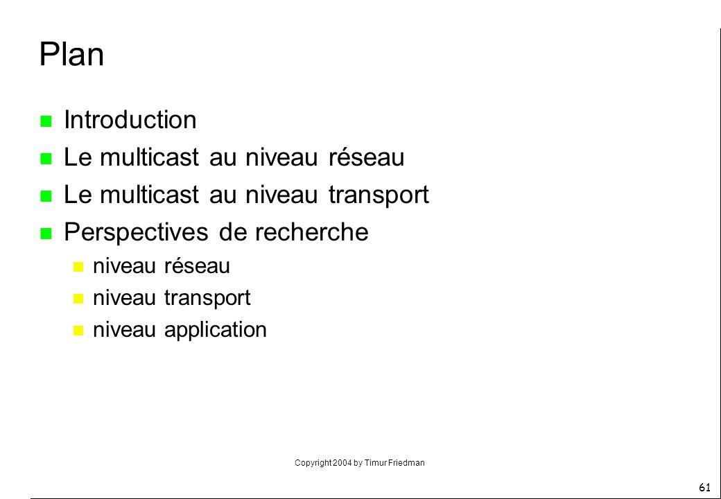 Copyright 2004 by Timur Friedman 61 Plan n Introduction n Le multicast au niveau réseau n Le multicast au niveau transport n Perspectives de recherche