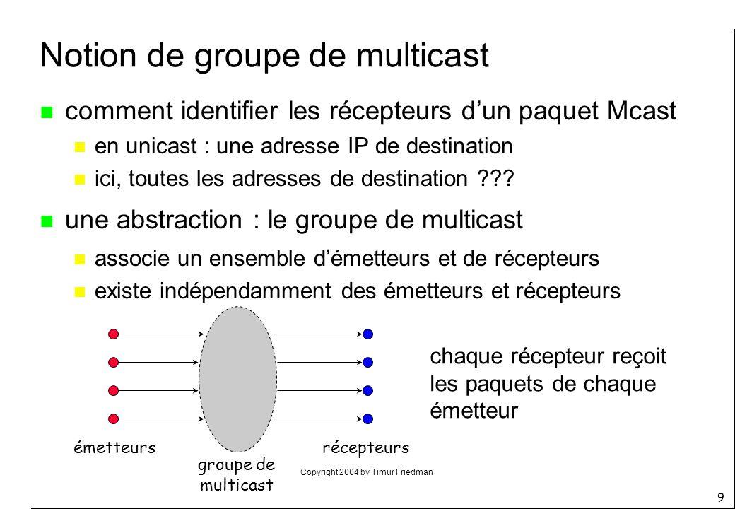 Copyright 2004 by Timur Friedman 9 Notion de groupe de multicast n comment identifier les récepteurs dun paquet Mcast n en unicast : une adresse IP de