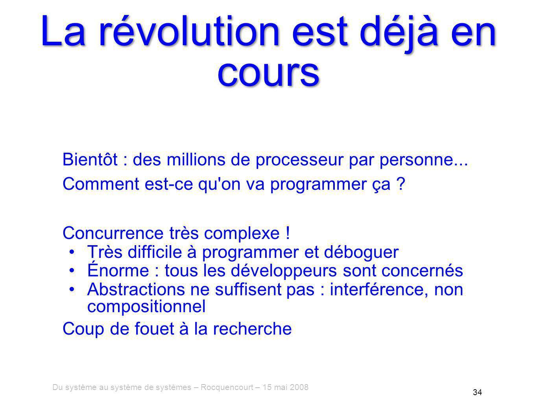Du système au système de systèmes – Rocquencourt – 15 mai 2008 34 La révolution est déjà en cours Bientôt : des millions de processeur par personne...