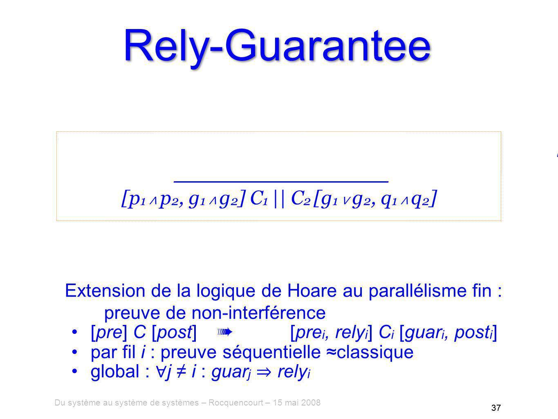 Du système au système de systèmes – Rocquencourt – 15 mai 2008 37 Rely-Guarantee Extension de la logique de Hoare au parallélisme fin : preuve de non-interférence [pre] C [post] [pre i, rely i ] C i [guar i, post i ] par fil i : preuve séquentielle classique global : j i : guar j rely i [p 1, r 1 ] C 1 [g 1, q 1 ][p 2, r 2 ] C 2 [g 2, q 2 ] g 1 r 2 g 2 r 1 [p 1 p 2, g 1 g 2 ] C 1 || C 2 [g 1 g 2, q 1 q 2 ] 37