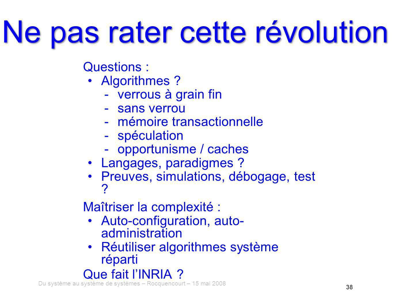 Du système au système de systèmes – Rocquencourt – 15 mai 2008 38 Ne pas rater cette révolution Questions : Algorithmes .