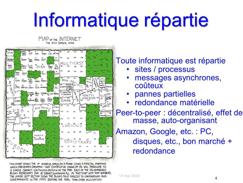 Du système au système de systèmes – Rocquencourt – 15 mai 2008 4 Informatique répartie Toute informatique est répartie sites / processus messages asynchrones, coûteux pannes partielles redondance matérielle Peer-to-peer : décentralisé, effet de masse, auto-organisant Amazon, Google, etc.