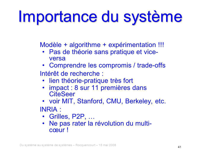 Du système au système de systèmes – Rocquencourt – 15 mai 2008 41 Importance du système Modèle + algorithme + expérimentation !!.