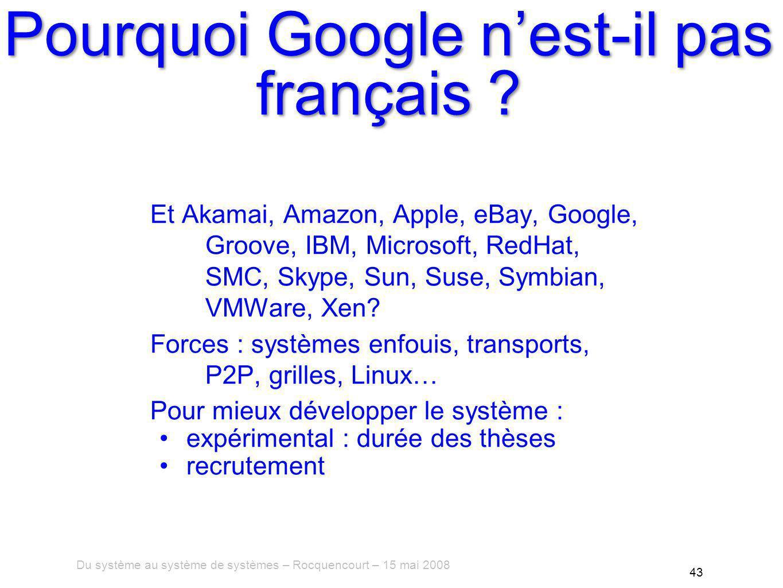 Du système au système de systèmes – Rocquencourt – 15 mai 2008 43 Pourquoi Google nest-il pas français .